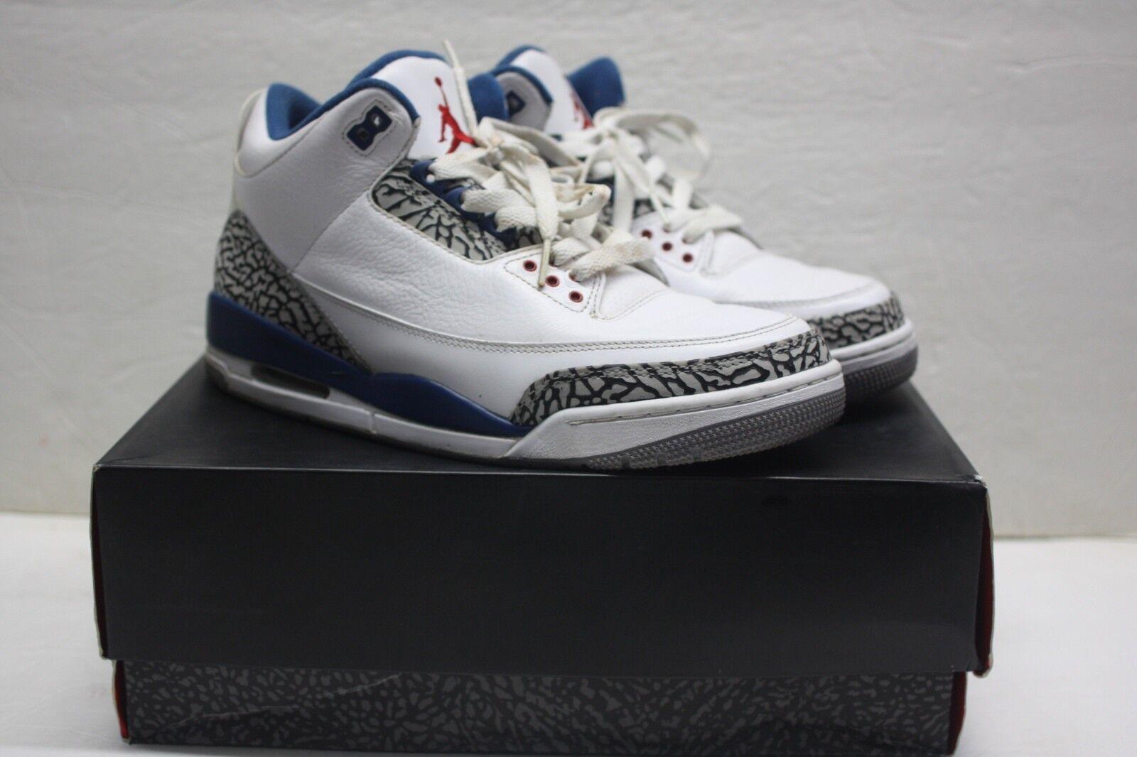 2011 Nike Air Jordan III 3 Retro True bluee 136064 104 White Cement Grey  Size 10