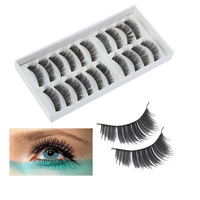 10 Pairs Natural Black Long False Eyelashes Makeup Eye Lash #017