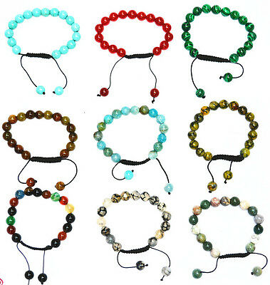 Hand-woven 10 mm variety of Gemstone bracelet retractable 7.5 ""