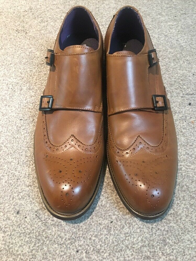 Gucinari tan leather brogue Double Buckle Uk 10 EUR 44 BNWOB