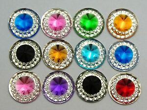 100-Mixed-Color-Acrylic-Flatback-Round-Rhinestone-Gems-11mm-Pyramid-Cone-Center