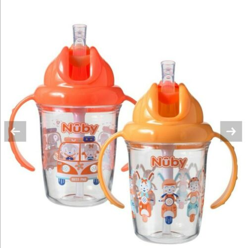 Nuby Day /& Night Flip n Sip Cups 6-12 months Twin Pack Drinking Cup Unisex New*