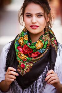 Lovely-Authentique-Russe-Pavlovo-Posad-echarpe-chale-100-laine-soie-frange-89x89cm