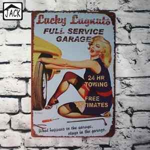 Lucky Lugnuts Service Cartel Metalico Gasolina Garage Retro Vintage colleccion