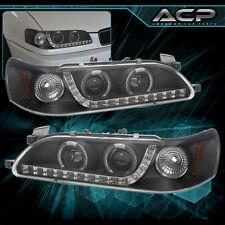 93-97 Toyota Corolla TRD Black Housing LED Projector Clear Lens Amber Corners