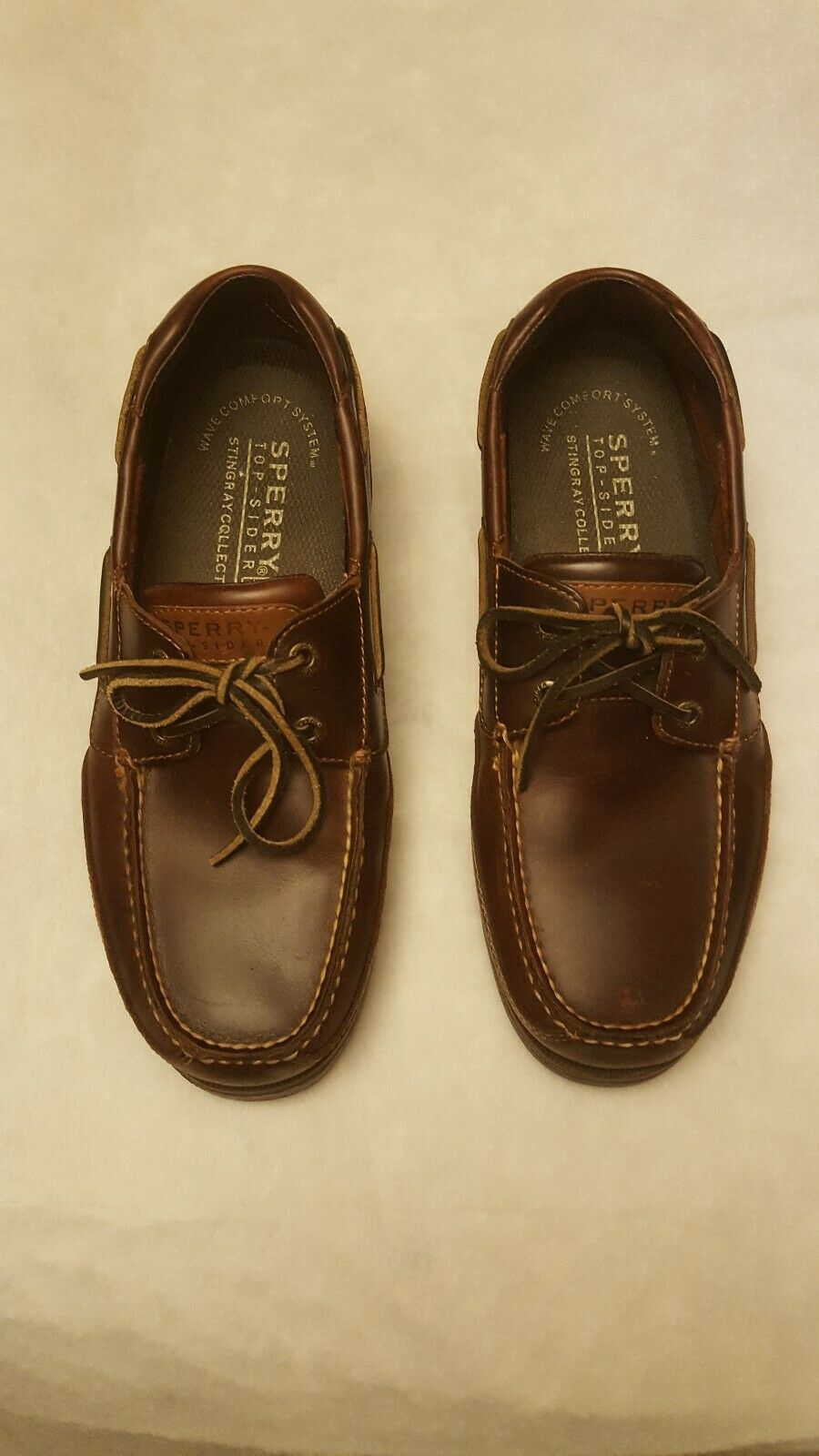 Sperry top sider mens size 10m brown leather boat shoes 2 eye non marking sole