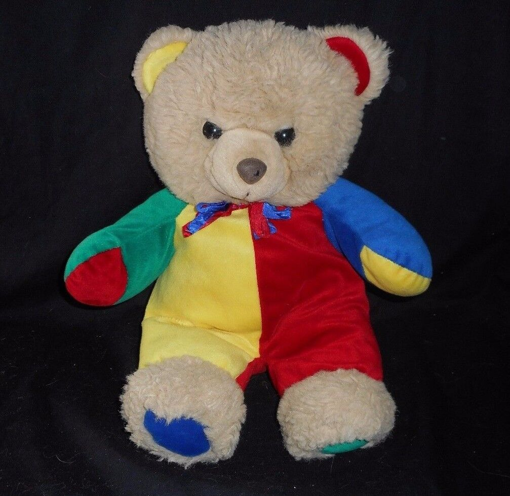17  VINTAGE ENGLAND HI-LO Marrone TAN TEDDY BEAR rosso blu STUFFED ANIMAL PLUSH TOY