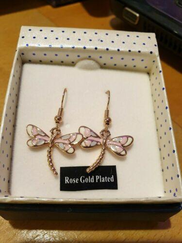 Chapado en Oro Rosa Libre P/&P Esmalte de equilibrio pendientes libélula.