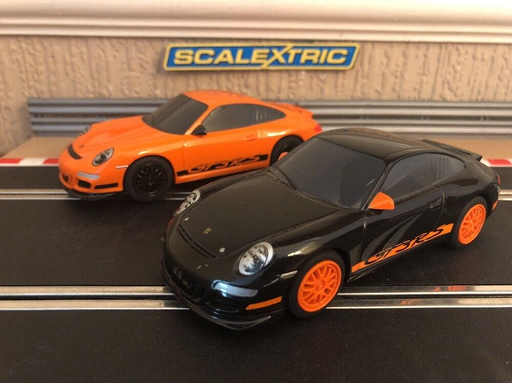 Scalextric Porsches 997 GT3RS Both DPR   Fully Serviced & New Braids Fitted