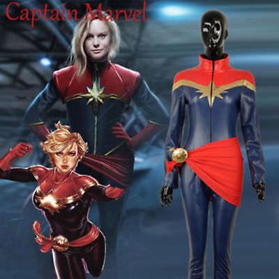 Captain Marvel Ms Marvel Cosplay Costume Carol Danvers Leather Suit Custom  HH