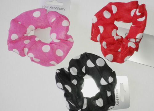 hair scrunchie bright colour spotty fabric  new colour choice