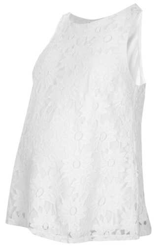TOPSHOP MATERINTY WHITE LACE DAISY SLEEVELESS TUNIC TOP SIZE 6 8 10 12 16 NEW