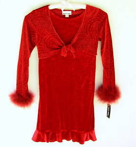 New-girls-sz-16-Dress-Red-Velour-Holiday-Party-velveteen-Boa-Cuff-Amys-Closet