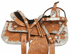"16"" 17"" PRO SILVER LIGHT OIL WESTERN PLEASURE SHOW LEATHER HORSE SADDLE TACK SET"