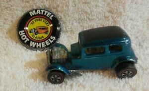 1968 ORIGINAL MATTEL HOT WHEELS /REDLINE USA CLASSIC 32 FORD VICKY/AQUA +BUTTON