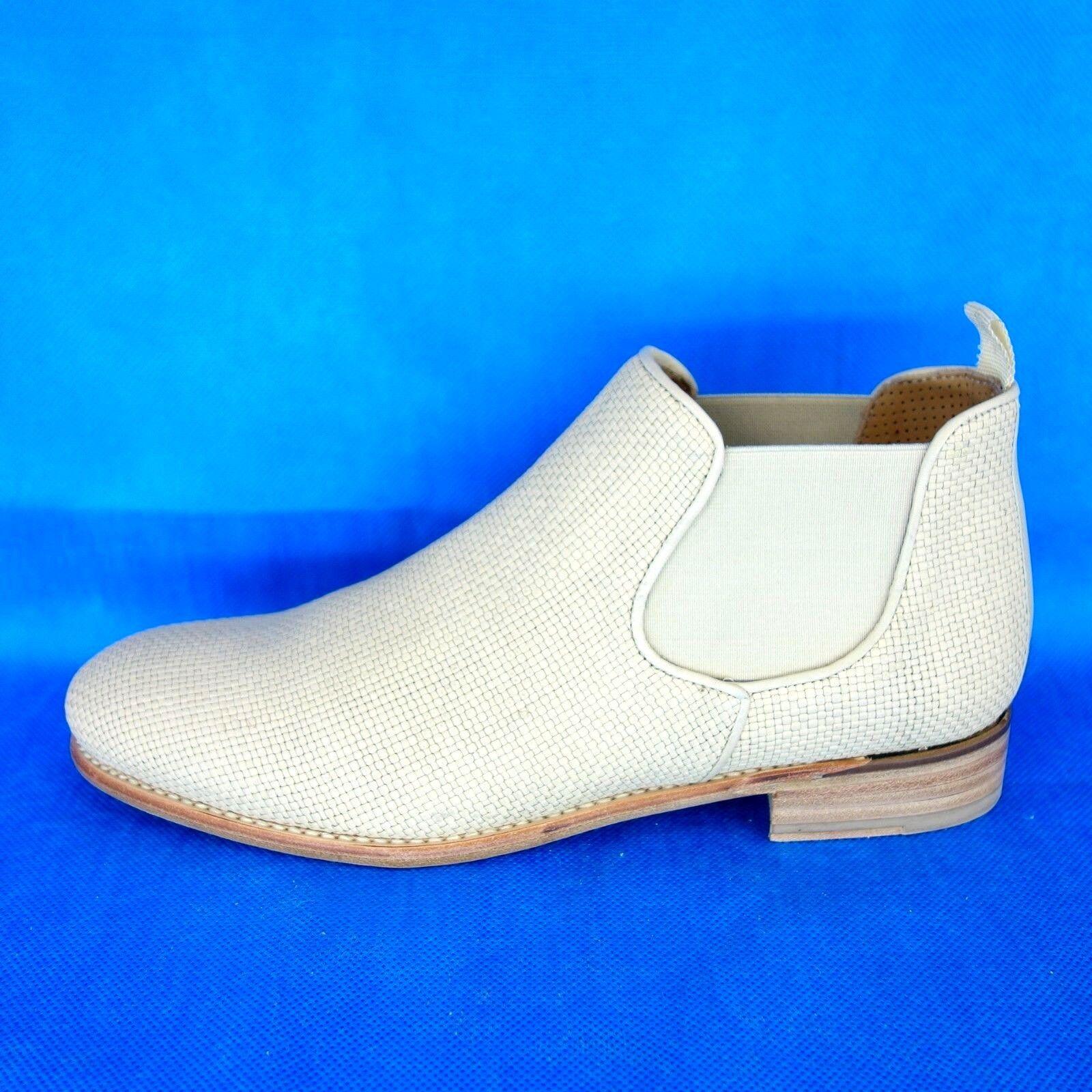 CORDWAINER Damen Stiefeletten Stiefel Beige Leder Geflochten Schuhe NP 279 NEU