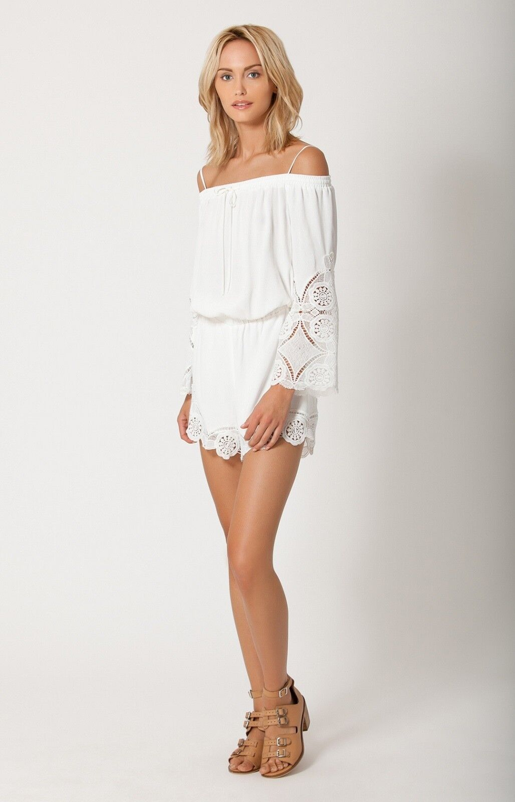 Ivory White Off Shoulder Romper XS   Lace Crochet Shorts Liberty Garden 5BRN8328