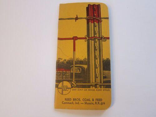 Vintage Red Brand Fence Pocket Notebook Reed Bros Coal Cammack /& Muncie Indiana