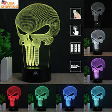 Anti Held Punisher Skull 3D Acrylic LED Night light Touch Table Desk Lamp Gift
