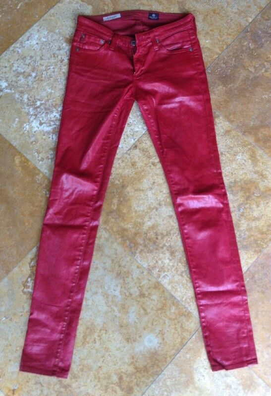Adriano Goldschmied The Legging Super Skinny Wet Look Jeans, rot, 25 R