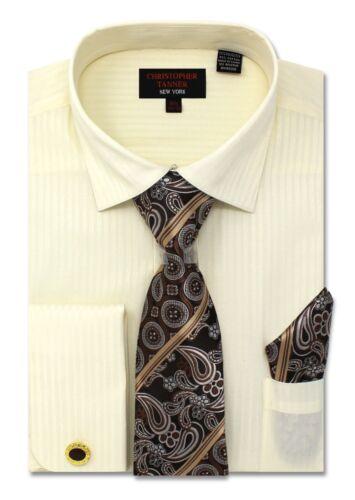 C Allen Regular Fit Mens Dress Shirt With Tie Hanky Cufflink Combo French Cuff