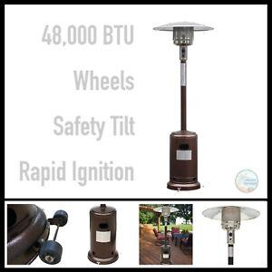 Gardensun Outdoor Patio Heater 48000 Btu Bronze Powder Coated Steel Wheels Ebay