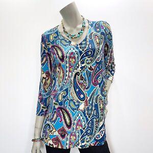 Susan-Graver-XS-Paisley-Tiered-3-4-Sleeve-Top-Shirt-Tunic-New