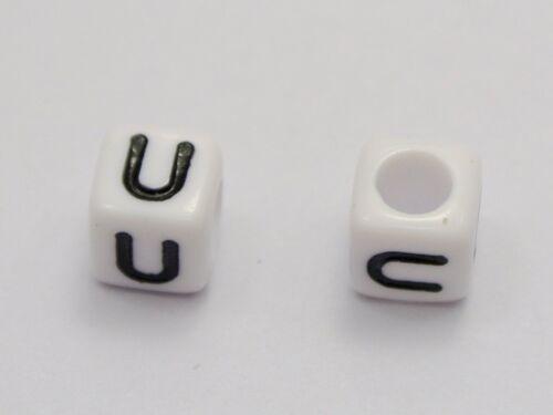 """500 Blanc Avec Noir ALPHABET LETTRE /""""U/"""" Acrylique Cube Beads 6X6mm"""