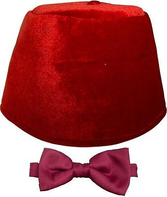 Fez Hat Doctor Who Red Fez /& Bow Tie Kit Licensed Official BBC Adult Hat /& Tie
