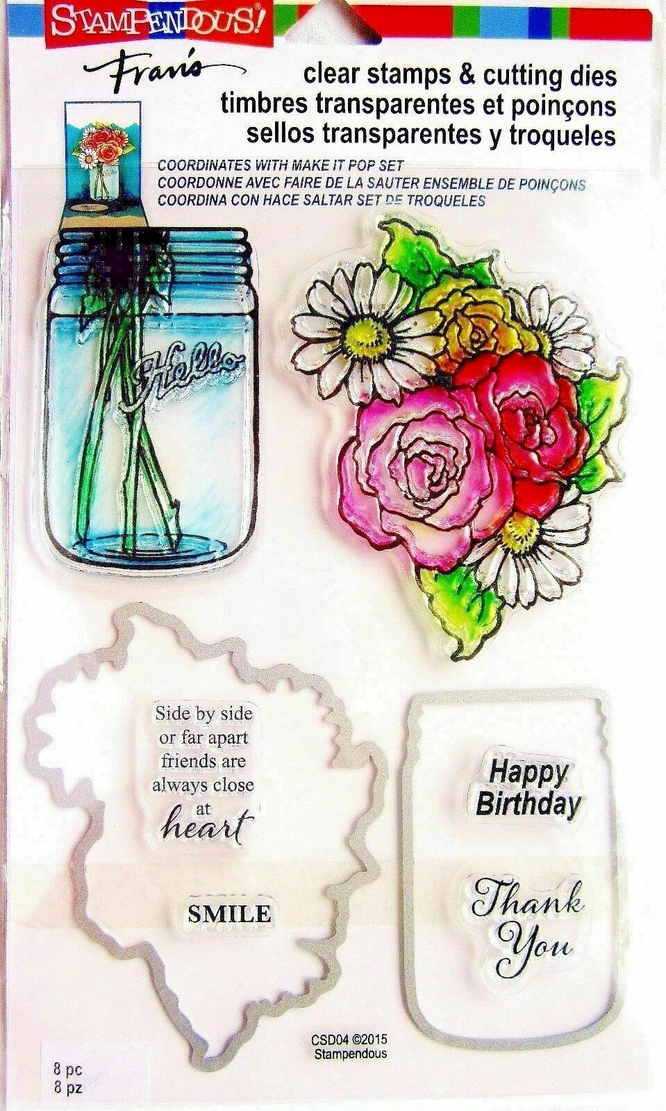 JAR//FLOWERS CLEAR STAMPS AND CUTTING DIES STAMPENDOUS 8 PIECES