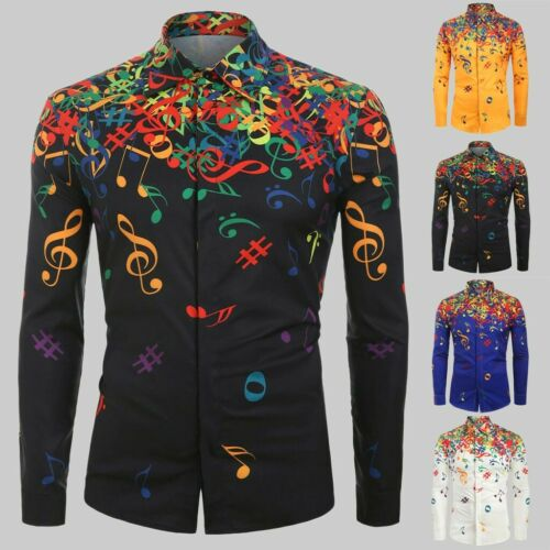 Men Casual Novelty Musical Note Pattern Casual Long Sleeves Shirt Top Blouse DZ