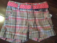 NEW girls PLAID SHORTS adjustable waist BELT brown orange PREPPY dots SIZE 5