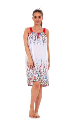 Ladies Sleeveless Nightwear Floral 100/% Cotton Summer Short Nightdress M to XXXL
