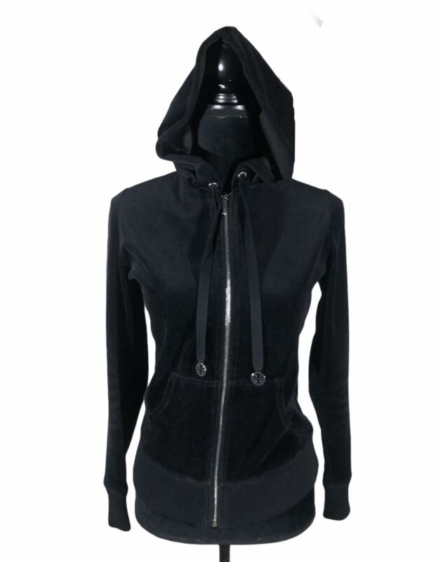 Tory Burch Black Velour Track Hooded Jacket Full Zip Size Small