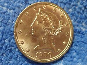 Escaso-Corona-Cabeza-Oro-Moneda-1900-P-En-Brilliant-Uncirculated-Estado