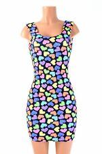 LARGE UV Glow Neon Candy Hearts Spandex Bodycon Tank Dress Ready To Ship!