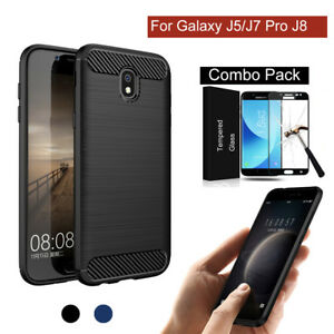 timeless design 01b4b 6ecd7 Details about Hybrid Carbon Fiber Silicon Cover Case for Samsung Galaxy  J5/J7 Pro J8 2018