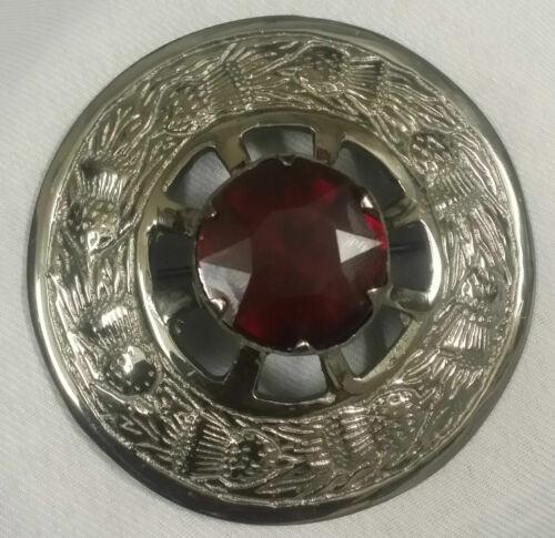 Scottish Kilt Fly Plaid Brooch Various Stone Chrome Finish Ladies Sash Brooches