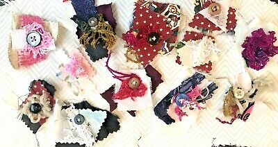 collage scrapbook 5 sewing quilt theme Junk Journal fabric clusters Embellishments snippets layered buttons slow stitching