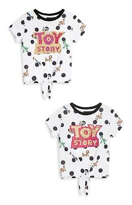 TOY STORY Girls Tie Up Front 2 Way Sequins Top T Shirt Licensed VARIOUS SIZES