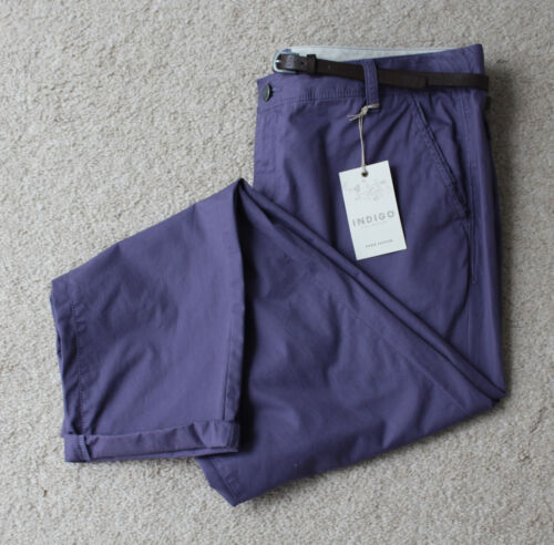 M/&S Indigo Collection Sizes 14M 16S 22L Cotton Roll Up Hem Trousers Bnwt