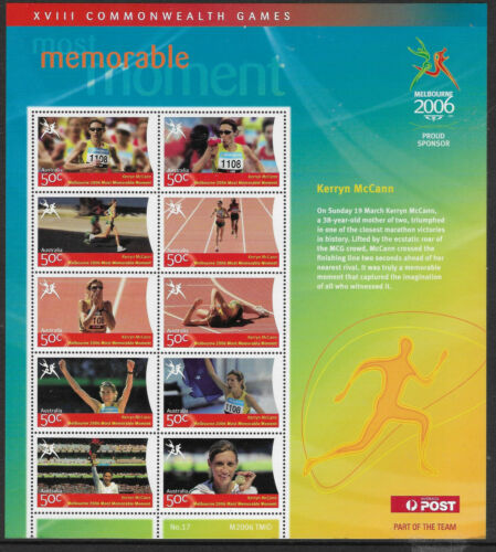 AUSTRALIA 2006 COMMONWEALTH GAMES MEMORABLE MOMENT McCANN Souv Sheet No 17 MNH