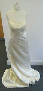 Yellow-White-Satin-Feel-Wedding-Dress-Prom-Strapless-Size-14-TIV-L5