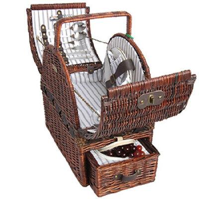 Picnic & Beyond  Wicker Picnic Basket for 2 PB1-3751 17pcs Dark Brown Color