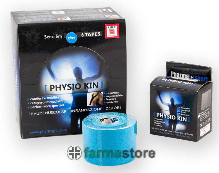 6 rotoli kinesio marca PHYSIO KIN azzurro taping neuromuscolare kinesiologico