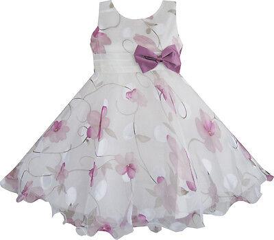 Sunny Fashion Girls Dress Purple Flower Bow Tie Wedding Party SZ 3 4 5 6 7 8