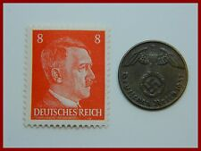 Authentic Nazi 3rd Reich 1937-1939 Coin wth SWASTIKA + HITLER Stamp WW 2 - (#3)