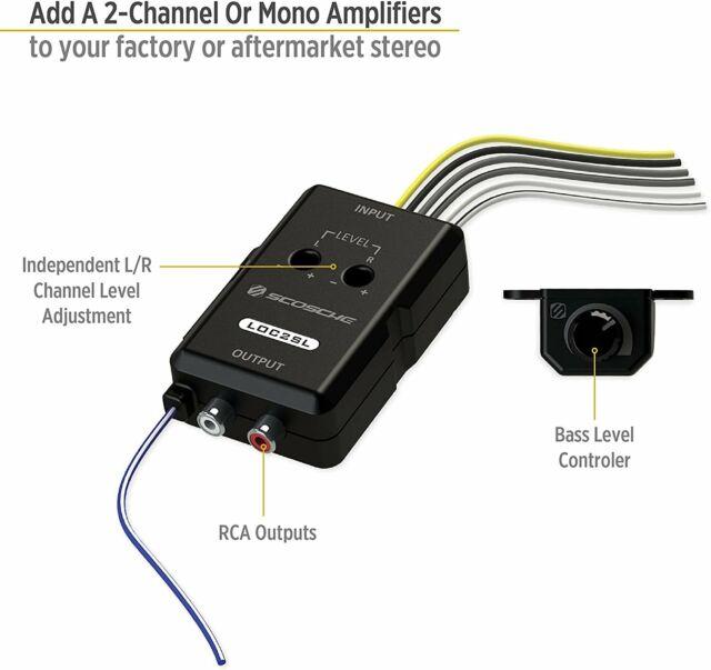 scosche loc2sl car stereo 2channel adjustable amplifier addon adapter   black