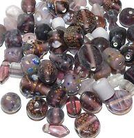 G2551d Purple Amethyst Handblown Lampwork Glass 6-19mm Bead Assortment 100 Grams