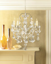 CRYSTAL GALORE IVORY BAROQUE CANDLE HOLDER HANGING CHANDELIER DECOR-14947
